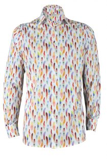 Colorful Feathers Print Shirt