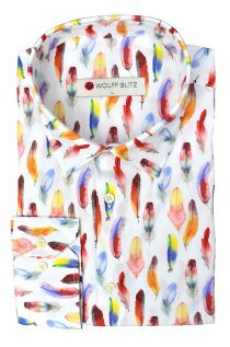 Colorful Feathers Print Overhemd